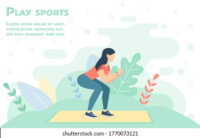 Outdoor sports. Healthy lifestyle. Squats. Girl go in for sports. People do exercises. Vector illustration in a flat style.Sport.Girl go in for sports. People doing exercise