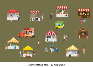 Outdoor street food festival with tiny people walking between vans or caterers, canopy, buying meals, eating and drinking, taking selfie, talking to each other. Loving couples, single, sellers, buyers