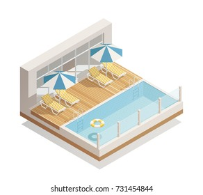 Outdoor swimming pool in recreation facility with parasol umbrellas beach lounge chairs and lifebuoy isometric composition vector illustration
