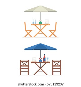 Outdoor table and chairs under parasol with menu, wine bottle and glasses. Summer street cafe terrace. City constructor elements.