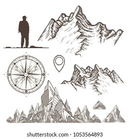 Outdoor, tourism, camping, rock-climbing hand drawn retro style set. Mountains collection, compass, map pointer,tourist