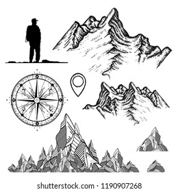 Outdoor, tourism, camping, rock-climbing hand drawn retro style set. Mountains collection, compass, map pointer,tourist. Symbols of adventures, camping