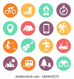Outdoor traveling icons. Tourism, hiking and camping colored signs set. Vector illustration