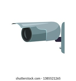 Outdoor wall security camera. Gray security camera. Can be used for topics like alarm, guard, detection