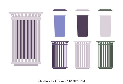 Outdoor waste bin set. Receptacle construction, sidewalk trash can. City street beautification and urban design concept. Vector flat style cartoon illustration, different positions
