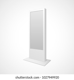 Outdoor white citylight lightbox advertising stand. Illustration isolated on white background.