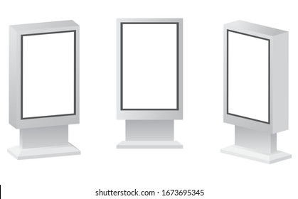 Outdoor white lightbox citylight advertising stand. Advertising digital signage mockup. City outdoor billboard mockups. Outdoor Advertising POS POI Stand Banner Or Lightbox