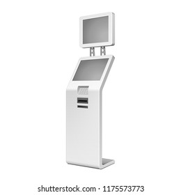 Outdoor White. Payment Terminal. ATM, POS, POI Advertising Stand On White Background. 3D Mock Up, Template. Illustration Isolated On White Background. Vector EPS10