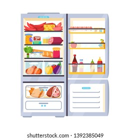 Outdoor white refrigerator with products, vegetables, fruits, meat and dairy products. Fridge with freezer. Flat style vector illustration isolated on white background.
