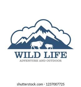 Outdoor Wilderness, Mountain Adventure Retro Badge