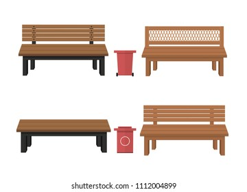 Outdoor wooden benches with garbage can.Outer wooden benches. Vector illustration of a beautiful summer city park with an urban design background. For relax. Outdoor wooden benches with garbage can.