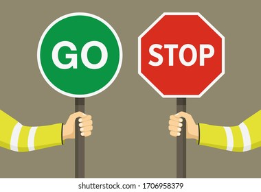 Outdoor worker holding stop and go sign. Hand hold traffic or road sign. Close-up view. Flat vector illustration.