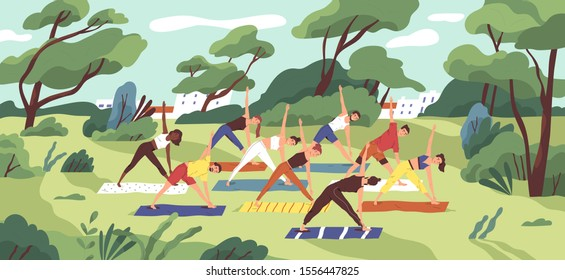Outdoor yoga class flat vector illustration. Young women in sportswear training together in city park cartoon characters. Healthy lifestyle, active recreation. Open air workout, physical exercising.