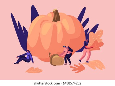 Outdoors Activities in Autumn Season, Happy Male and Female Characters Spend Time Pick Up Fallen Yellow Leaves for Herbarium, Pumpkin Crop, Acorn. Fall Outdoor Leisure Cartoon Flat Vector Illustration