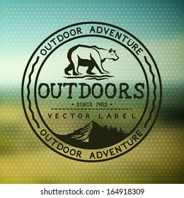 Outdoors Adventure Badge with blurred background. Vector illustration