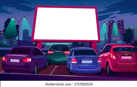 Outdoors car cinema with empty white screen vector illustration. Drive-in movie theater with open air parking flat style. Night city with glowing screen. Urban entertainment and film festival concept