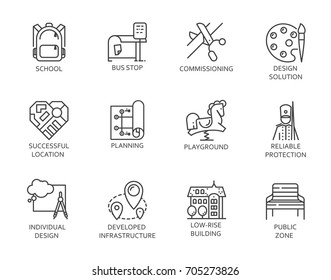 Outdoors childrens safe infrastructure, street and private housing arrangement concept icons. Set of 12 pictograms in linear style for infographic and other projects isolated on white background