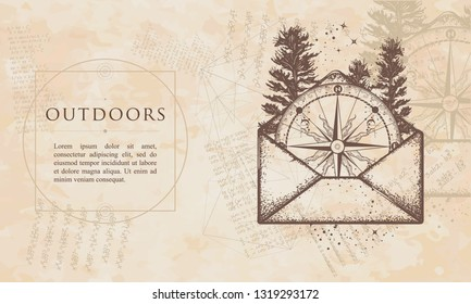 Outdoors. Compass in open envelope. Renaissance background. Medieval engraving manuscript. Vintage paper with drawings, vector