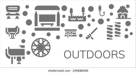 outdoors icon set. 11 filled outdoors icons.  Collection Of - Bench, Bus stop, Saddle, Smore, Baton, Lake, Spoke wheel, Fishing rod, Marshmallow, Cabin