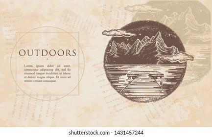 Outdoors. Mountains lake landscape. Mystical symbol of tourism, dream, camping, travel. Renaissance background. Medieval manuscript, engraving art