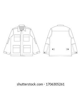 Outer jacket 4 pocket vector illustration flat outline template