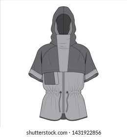 Outer Jacket fashion flat sketch template