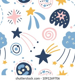 Outer Space childish seamless pattern with stars, comets, cosmic elements. Creative scandinavian nursery background for kids apparel, textile, fabric, wrapping paper, wallpaper. Vector illustration