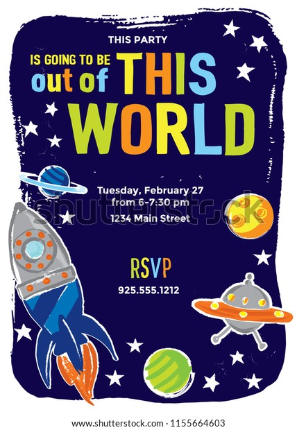 Outer Space Childs Party Invitation Template Stock Vector Royalty