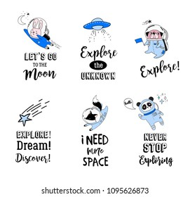Outer Space concept illustration. Cute animals astronauts in helmets, creative nursery designs, perfect for kids room, fabric, wrapping, wallpaper, textile, apparel
