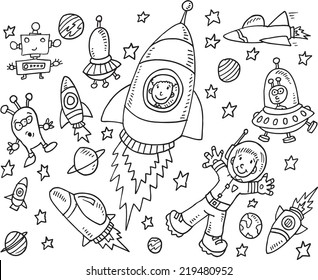Outer Space Doodle Illustration Art Set