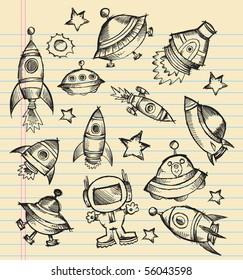 Outer Space Doodle Sketch notebook Elements Vector Illustration Set