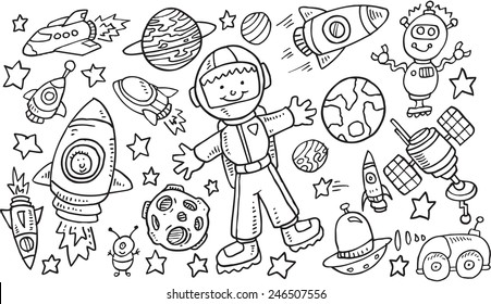 Outer Space Doodle Vector Illustration Art Set