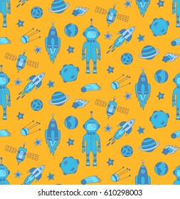 Outer space doodles cosmic hand drawn elements rocket planets satellite asteroid stars funny childish colorful yellow and blue seamless vector pattern