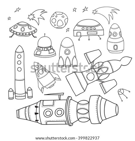 Outer Space Doodles Symbols Design Elements Stock Vector Royalty