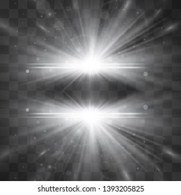 Outer space hyper portal, white explosion isolated on transparent background. Light rays, flares, galactic illumination. Energy burst, shining highlights. Warm glowing decorative magical sunlight.