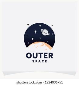 Outer Space Logo, Planet Logo Design Template