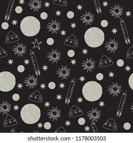 Outer Space planets moon seamless vector pattern design rocket ships black and white