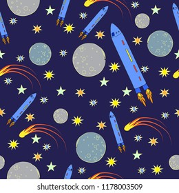 Outer Space planets moon seamless vector pattern design rocket ships comet blue yellow orange gray