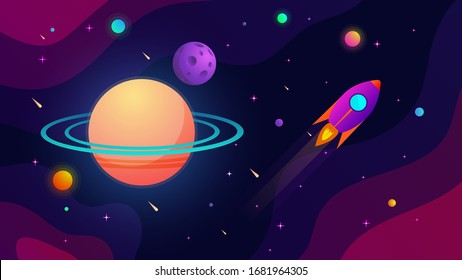 Outer space with planets, stars, comets and flying rocket. Vector illustration.