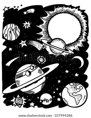 Outer Space Retro Clipart Illustration Stock Vector Royalty Free