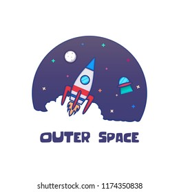 Outer Space Rocket Vector