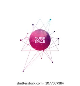 Outer space scientific template with label area. Hipster triangles and interlocking geometry shapes with space texture. Vector design for music albums, posters, flyers, web  and mobile application.