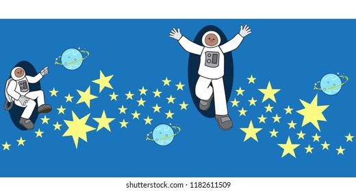outer space seamless vector border astronauts stars planets blue spacesuit