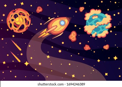 Outer space vector. Flat style rocket. Planets in the univers.