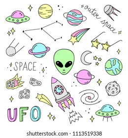 Outer space vector objects and writings. Alien, ufo, planets, moon, satellite, comet, meteorite, stars, solar system,  rocket and other space icons. Cute, colorful, doodle, hand drawn galaxy set.
