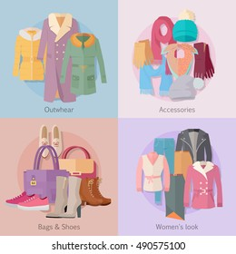 Outerwear accesoiries bags and shoes womens look banner set. Autumn winter collection. Stylish fashionable designers clothe. Best world brand trends. New collection of shoes and outwear models. Vector