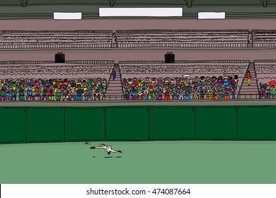 Outfielder leaping for ball in large cartoon illustration of stadium with blank scoreboard signs