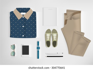 Outfit of fashion set for modern young person. vector