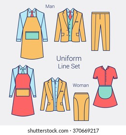 The Outfits for the Professional Business Women and Men.  Formal wear for women and men. Uniform: apron, jacket, pants, skirt, maid clothes. Flat vector illustration.
