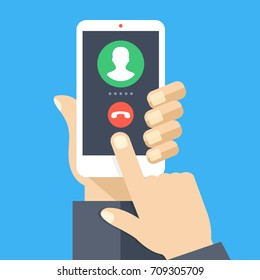 Outgoing call. White smartphone with call screen. Waiting for answer concept. Human hand holding cellphone, finger touching screen. Modern flat design graphic elements and objects. Vector illustration